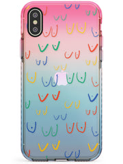 Boob Pattern (Mixed Colours) Pink Fade Impact Phone Case for iPhone X XS Max XR