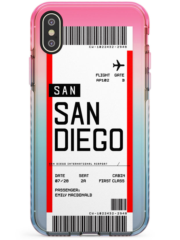 San Diego Boarding Pass iPhone Case  Pink Fade Impact Custom Phone Case - Case Warehouse