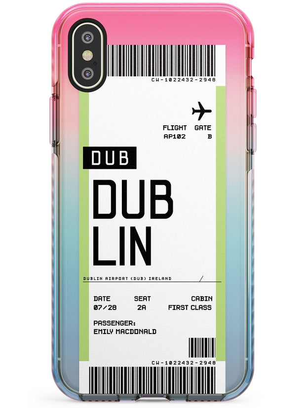 Dublin Boarding Pass iPhone Case  Pink Fade Impact Custom Phone Case - Case Warehouse