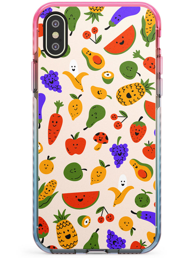 Mixed Kawaii Food Icons - Solid iPhone Case Pink Fade Impact Phone Case Warehouse X XS Max XR