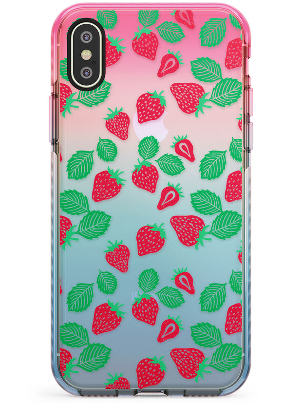 Strawberry Pattern iPhone Case  Pink Fade Impact Phone Case - Case Warehouse