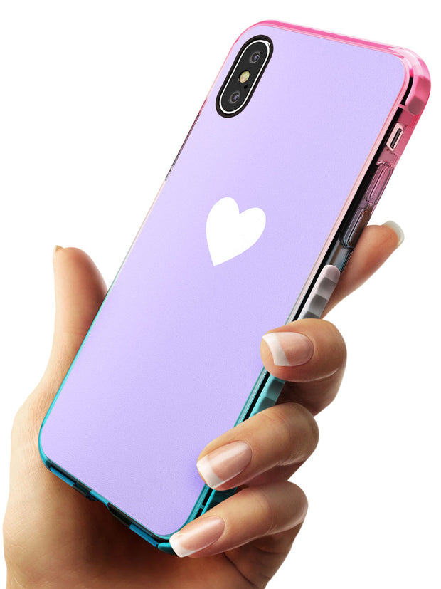 Single Heart White & Pale Purple Pink Fade Impact Phone Case for iPhone X XS Max XR