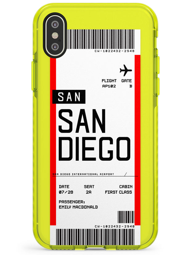 San Diego Boarding Pass iPhone Case  Neon Impact Custom Phone Case - Case Warehouse