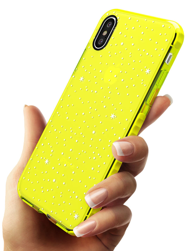 Celestial Starry Sky White Neon Yellow Impact Phone Case for iPhone X XS Max XR