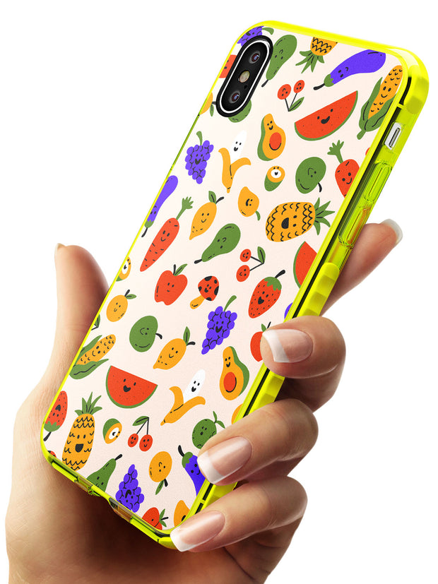 Mixed Kawaii Food Icons - Solid iPhone Case Neon Yellow Impact Phone Case Warehouse X XS Max XR