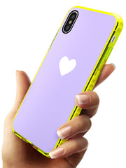 Single Heart White & Pale Purple Neon Yellow Impact Phone Case for iPhone X XS Max XR