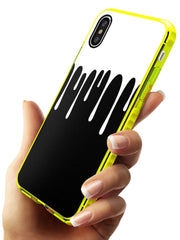 Melted Effect: White & Black iPhone Case Neon Yellow Impact Phone Case Warehouse X XS Max XR