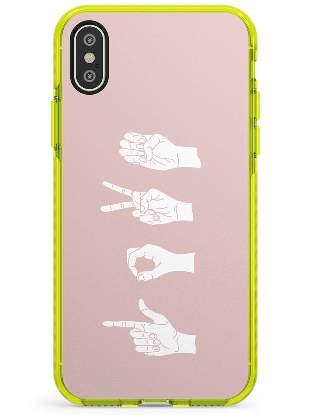 LOVE Sing Language Neon Yellow Impact Phone Case for iPhone X XS Max XR