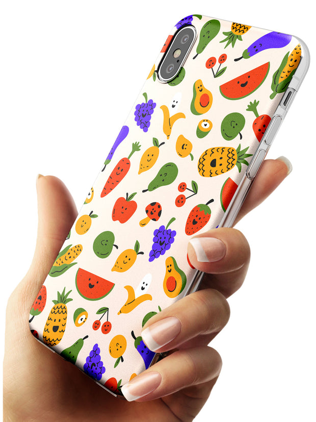 Mixed Kawaii Food Icons - Solid iPhone Case Slim TPU Phone Case Warehouse X XS Max XR