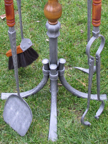Fireplace Tools With Stand Hand Forged Wrought Iron Golden