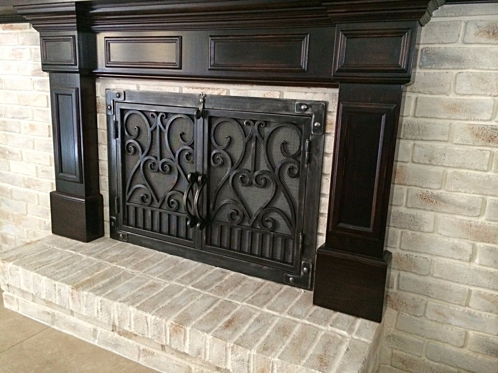 Fireplace Doors And Screens Hand Forged Wrought Iron Golden