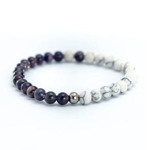 Amethyst and Howlite bead bracelet the epitome of a Rad Citizen that describes themselves as Free Spirted & Curious.