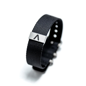 The heavy weave nylon bracelet is both lightweight and sturdy. Waterproof. Sweatproof. Gym friendly. Full rad factor.
