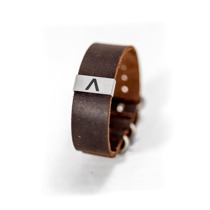 This rugged leather men's bracelet is lightweight and sturdy.