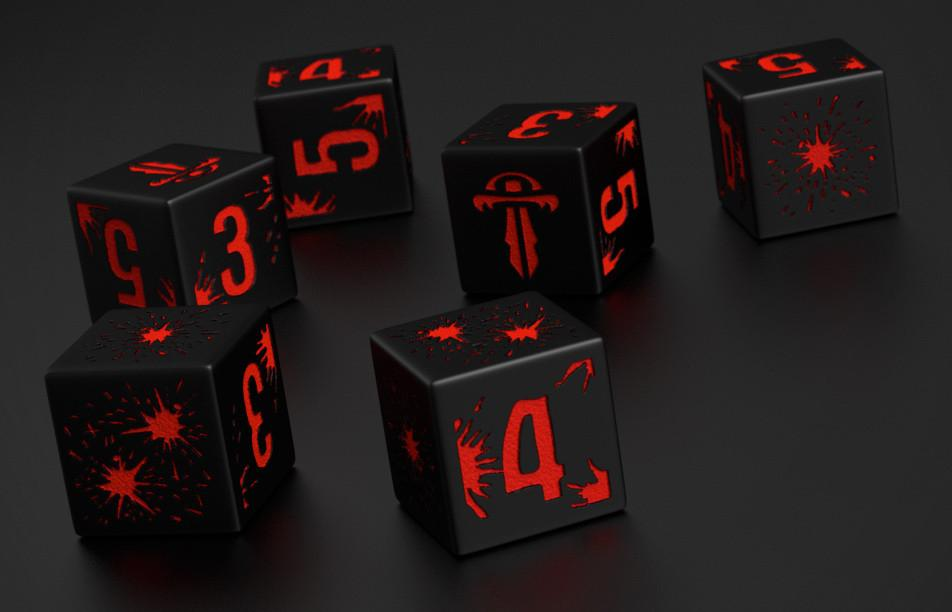 Mutant Chronicles 12 x d6 Dark Symmetry combat dice set