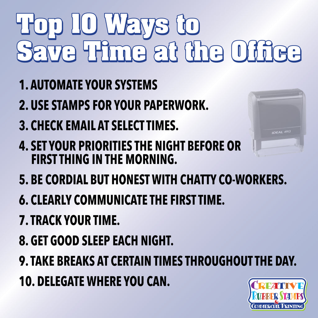 Top 10 Ways to save time at the office