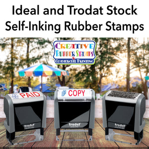 Ideal and Trodat Stock Self-Inking Rubber Stamps