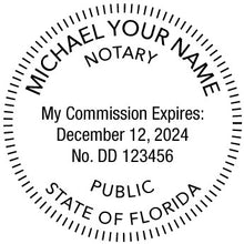 Florida Notary Round Self-Inking Rubber Stamp