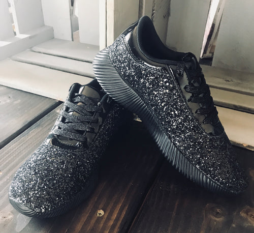 black glitter sneakers | women footwear