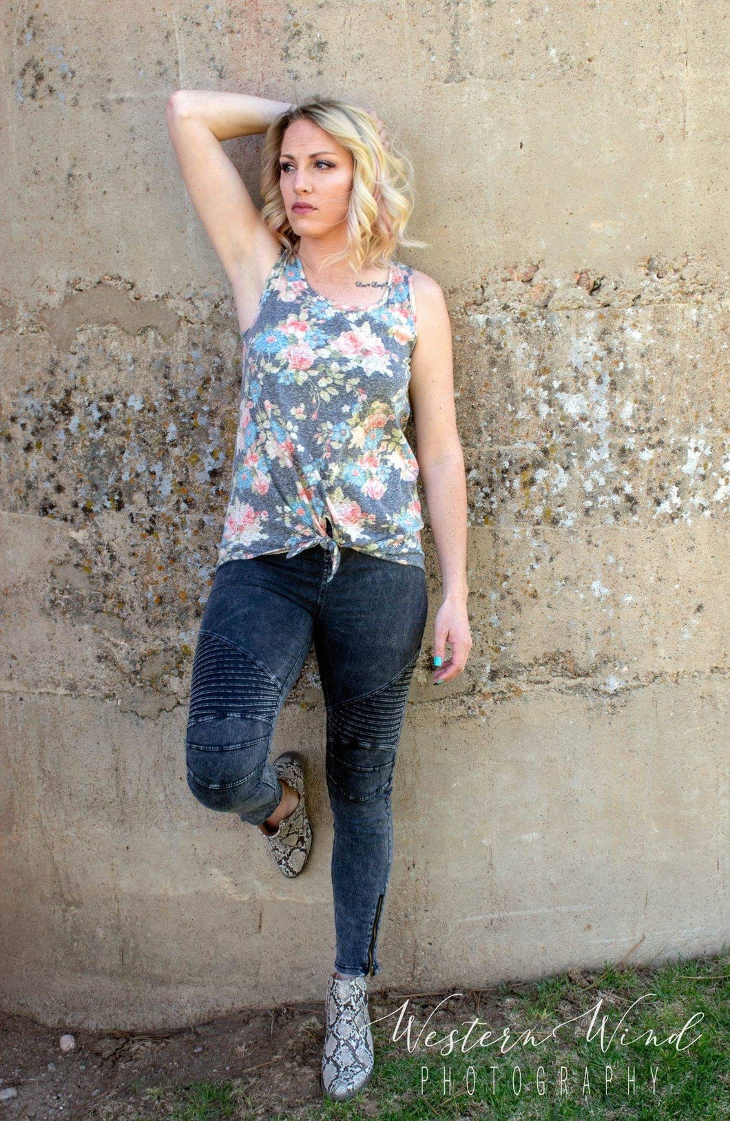 Charcoal Floral Tank