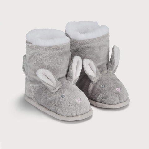grey bootie style slippers with bunny face and ears