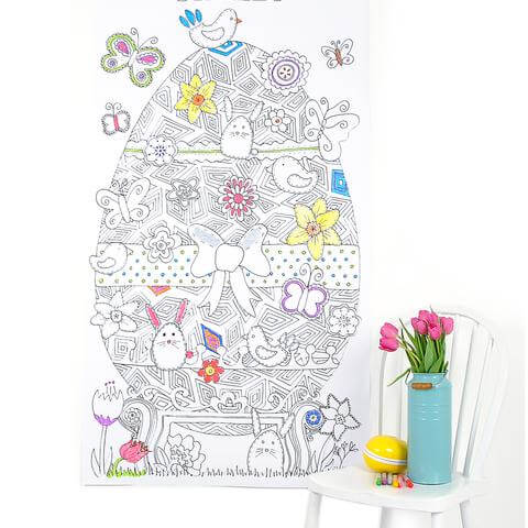 large patterned Easter egg poster ready to colour in