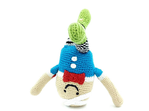 crochet humpty dumpty soft toy doing a handstand