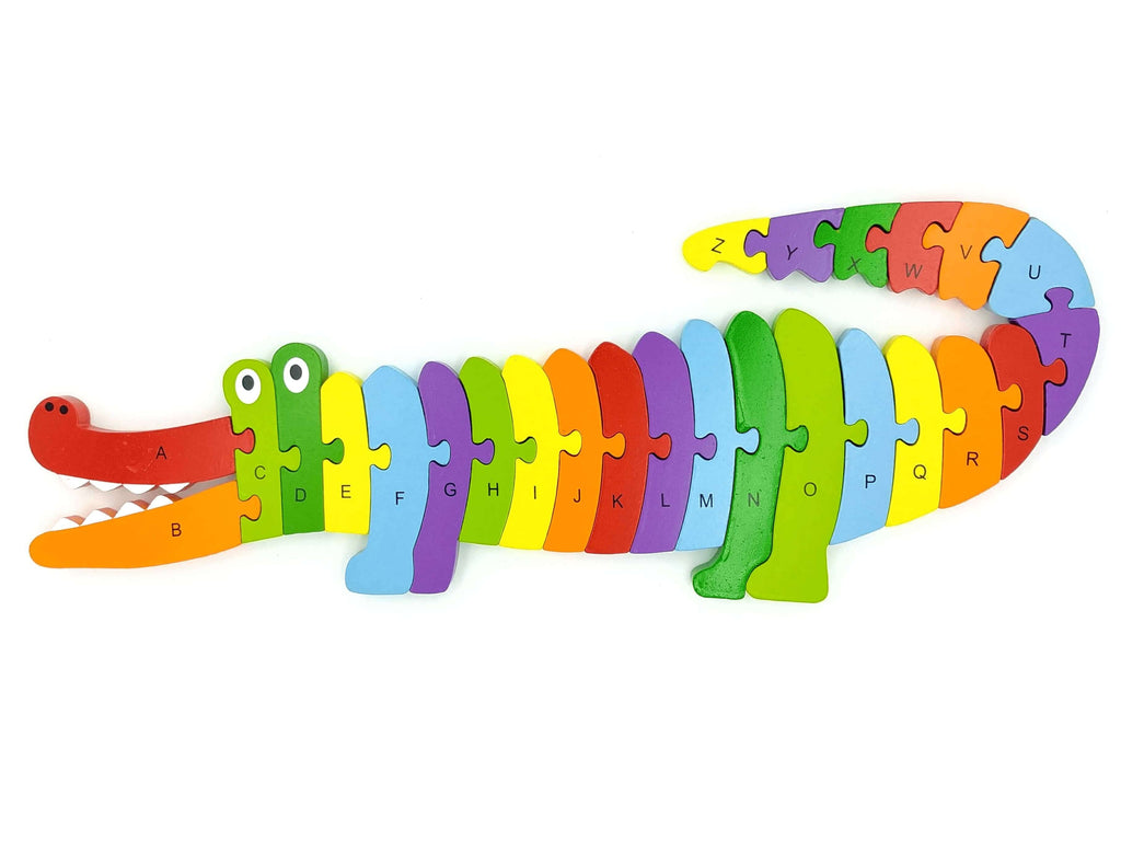 crocodile shaped gender neutral wooden alphabet puzzle completed, top view