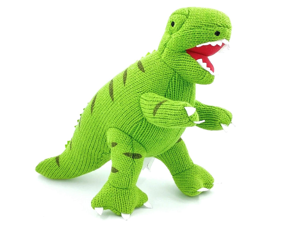 bright green crochet t-rex gender neutral soft toy
