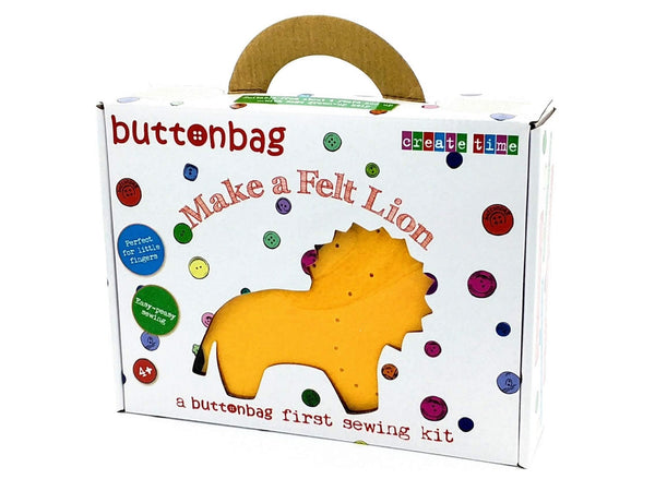 my first sewing kit, make a felt lion, in suitcase style white cardboard box, gender neutral craft kit