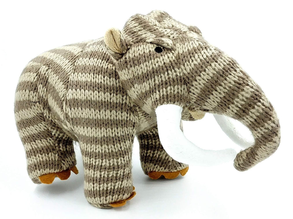 light and dark brown stripey mammoth gender neutral soft toy with white tusks