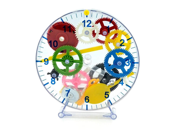 see-through mechanical clock with visible cogs in lots of colours, gender neutral