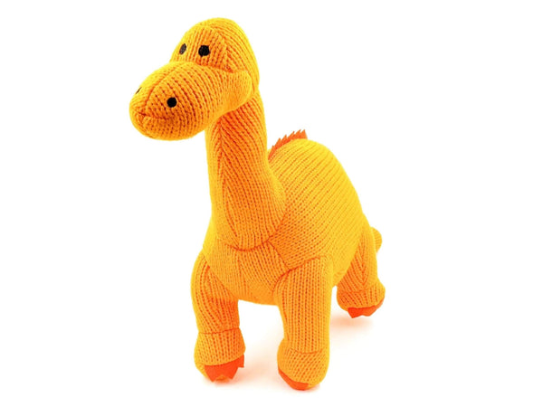 orange crochet diplodocus gender neutral soft toy