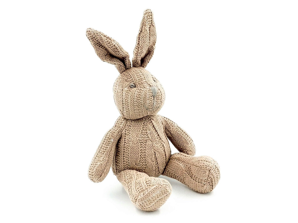 beige cable knit bunny sitting down gender neutral soft toy