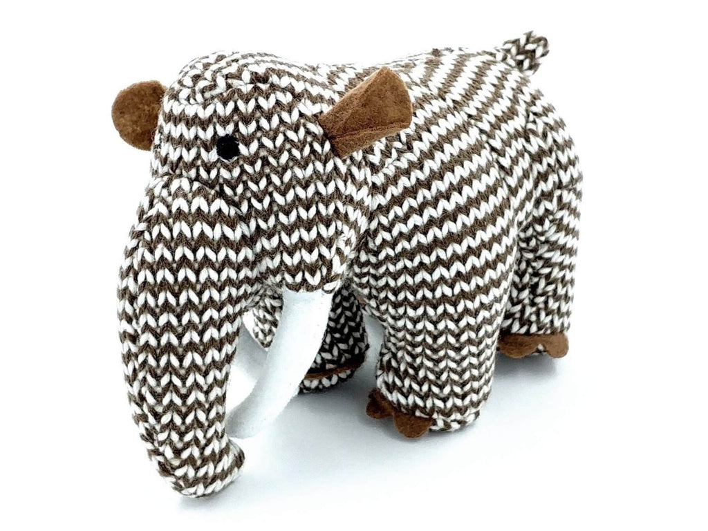 mammoth gender neutral soft toy with brown and white zig zag crochet