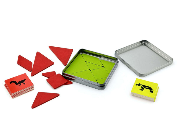 red and green gender neutral tangram pieces in and puzzle cards in a handy travel tin