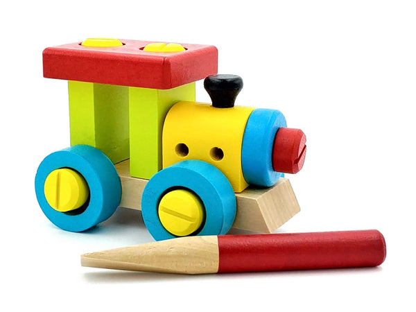 wooden train basic construction kit with wooden screwdriver, gender neutral