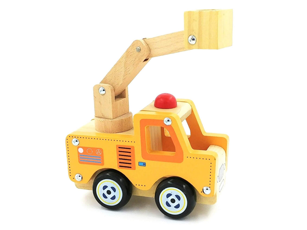 yellow gender neutral wooden truck with crane arm