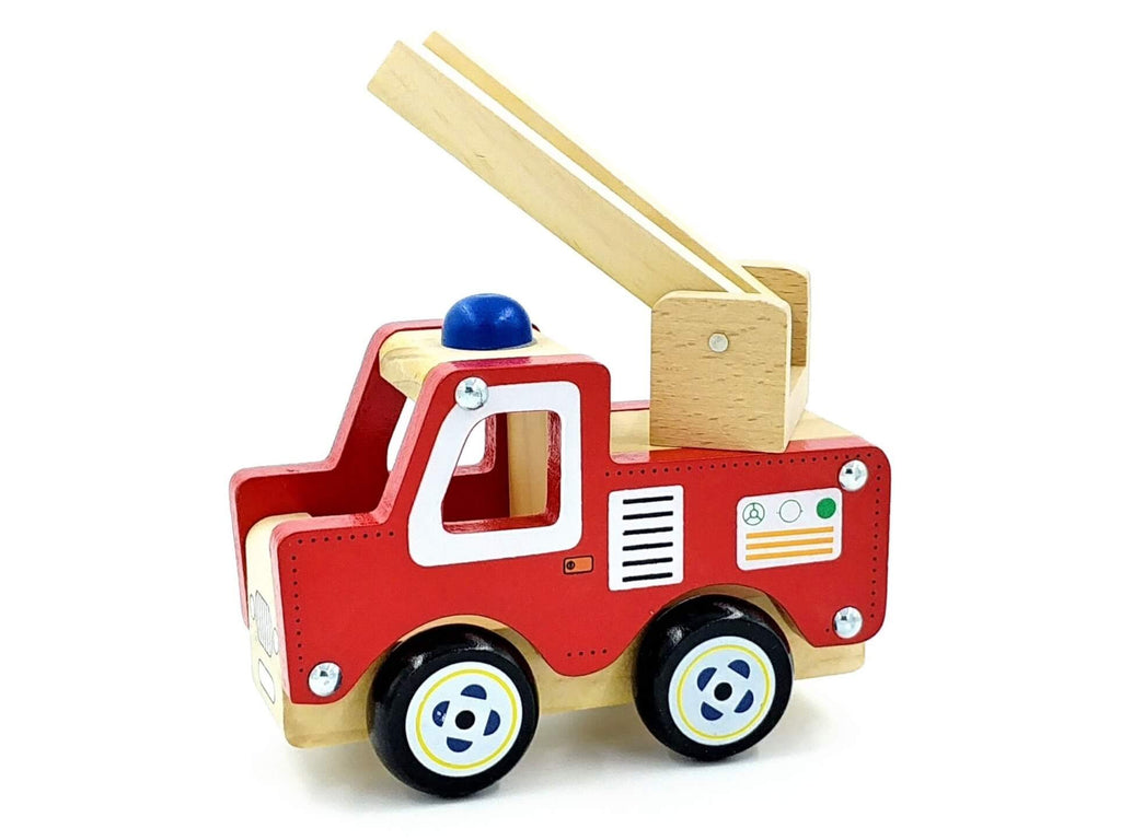small wooden fire engine with swivelling ladder on roof