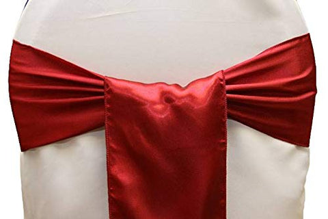 mds Pack of 50 Satin Chair Sashes Bow sash for Wedding and Events Supplies Party Decoration Chair Cover sash -Apple Red