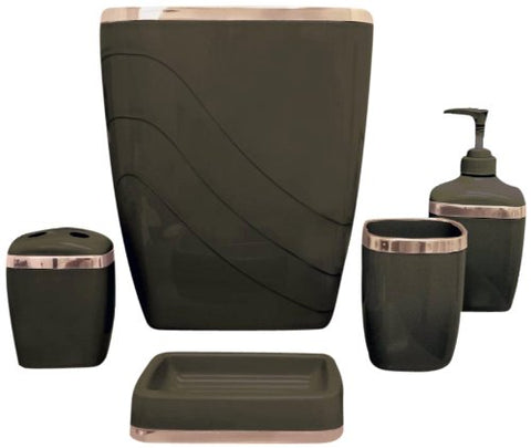 Carnation Home Fashions 5-Piece Plastic Bath Accessory Set, Brown