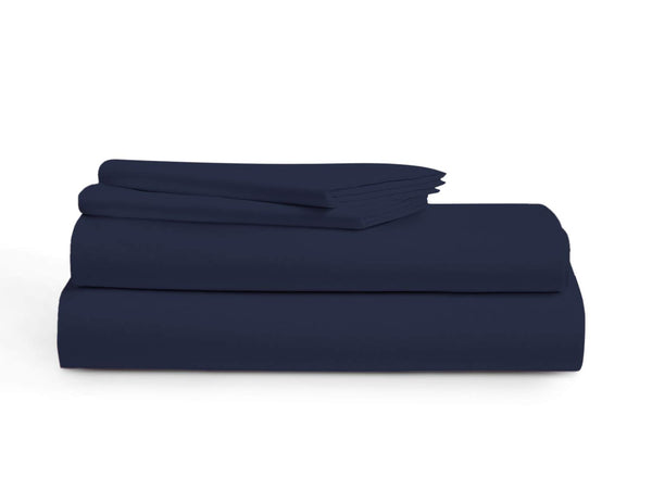 800 Thread Count 100% Long Staple Egyptian Cotton Sheet Set, King Sheets, Luxury Bedding, King 4 Piece Set, Smooth Satin Weave,Navy Blue, by Audley Home