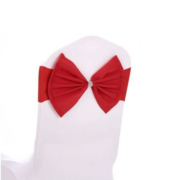 Fvstar 10pcs Red Chair Bows Sashes Elastic Spandex Wedding Chair Bows Decorative Party Chair Sashes Elegant Chair Ribbons Tie Bands for Birthday Baby Shower Event Trade Show Decorations