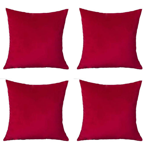 Andreannie Set of 4 Velvet Super Soft Comfortable Solid Decorative Throw Pillow Cover Cushion Case for Sofa Living Room 18 inches,20 inches Square (Red, 18