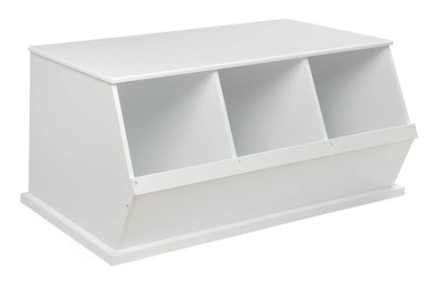 Badger Basket Three Bin Storage Cubby - White