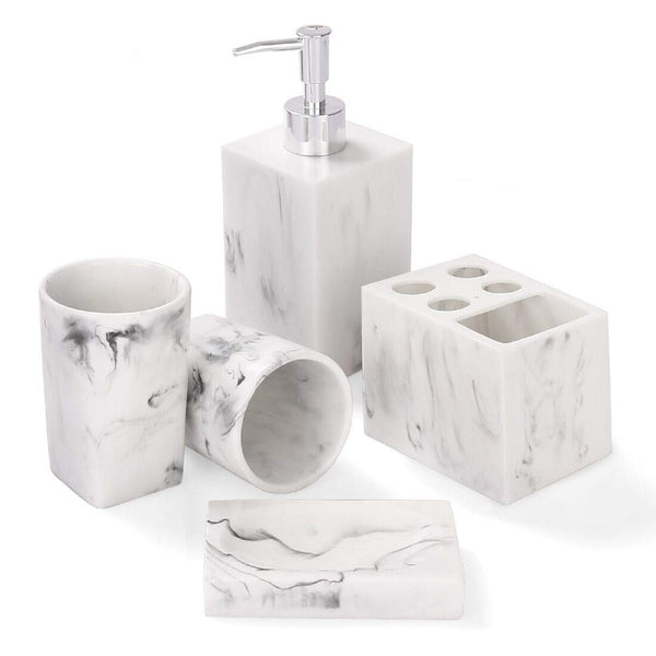 Bathroom Accessories Set, 5 Piece Marble Bathroom Accessory Set, Toothbrush Holder, Soap Dispenser, Soap Dish, 2 Tumblers, Ink White