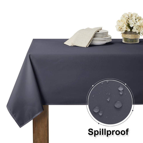 RYB HOME Waterproof Tablecloth for 6 ft Rectangle Table Stain Resistant, Wrinkle Free and Spillproof Washable Polyester Table Cover Dinning/Restaurant, 60 x 84 inch, Grey