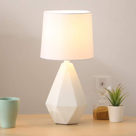 SOTTAE Modern Ceramic Small White Irregular Geometric Livingroom Bedroom Bedside Table Lamp, Desk Lamp with White Fabric Shade