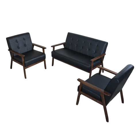 JIASTING Mid Century 1 Loveseat Sofa and 2 Accent Chairs Set Modern Wood Arm Couch and Chair Living Room Furniture Sets (8428 Black Set)