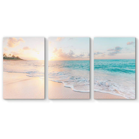 SIGNFORD 3 Piece Canvas Wall Art for Living Room Bedroom Home Artwork Paintings Romantic Beach Ready to Hang - 24